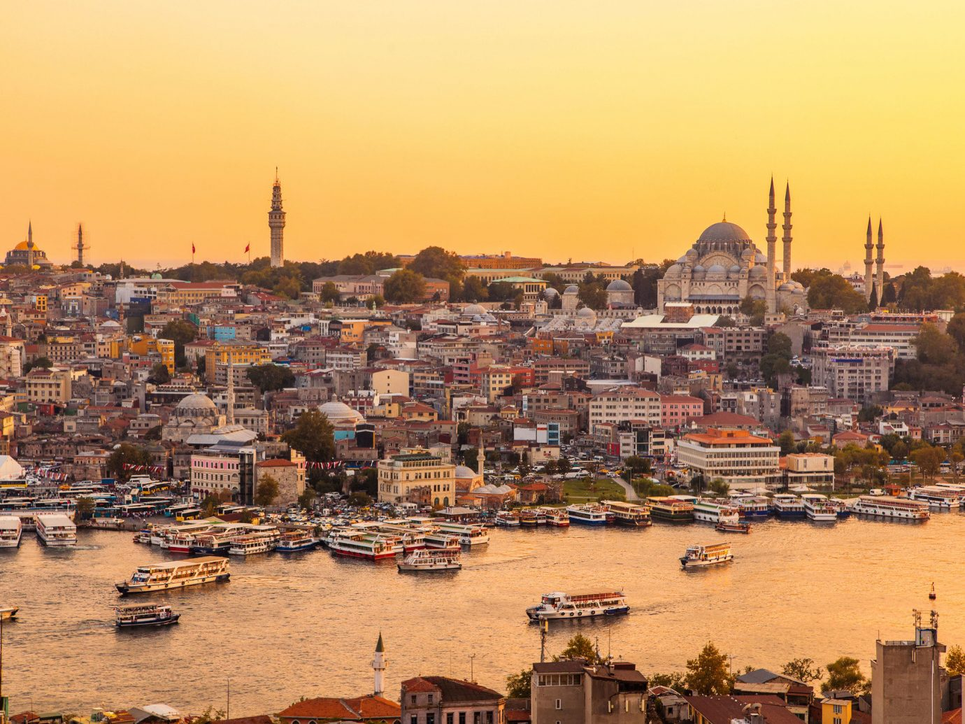 Hotels sky outdoor scene cityscape Harbor Town City geographical feature skyline Boat landmark human settlement horizon urban area evening Sunset dusk ancient history panorama several