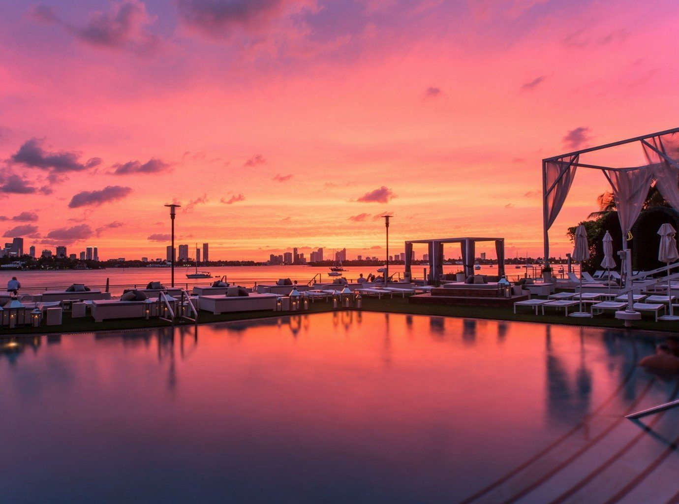 Jetsetter Guides sky water outdoor Boat scene reflection Sunset sunrise dawn afterglow dusk evening horizon morning River cityscape docked dock Sea skyline bridge waterway Harbor marina pier long clouds several