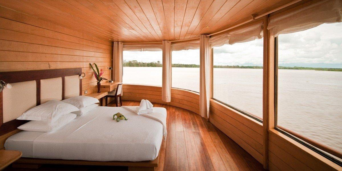 Trip Ideas indoor bed window ceiling room hotel passenger ship yacht vehicle Bedroom ship estate Boat overlooking