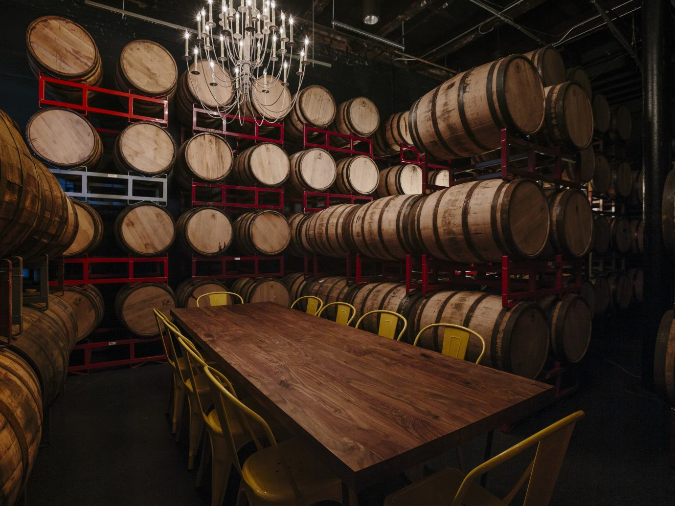 Barrels surrounding a table at the Bully Boy Distillery in Boston