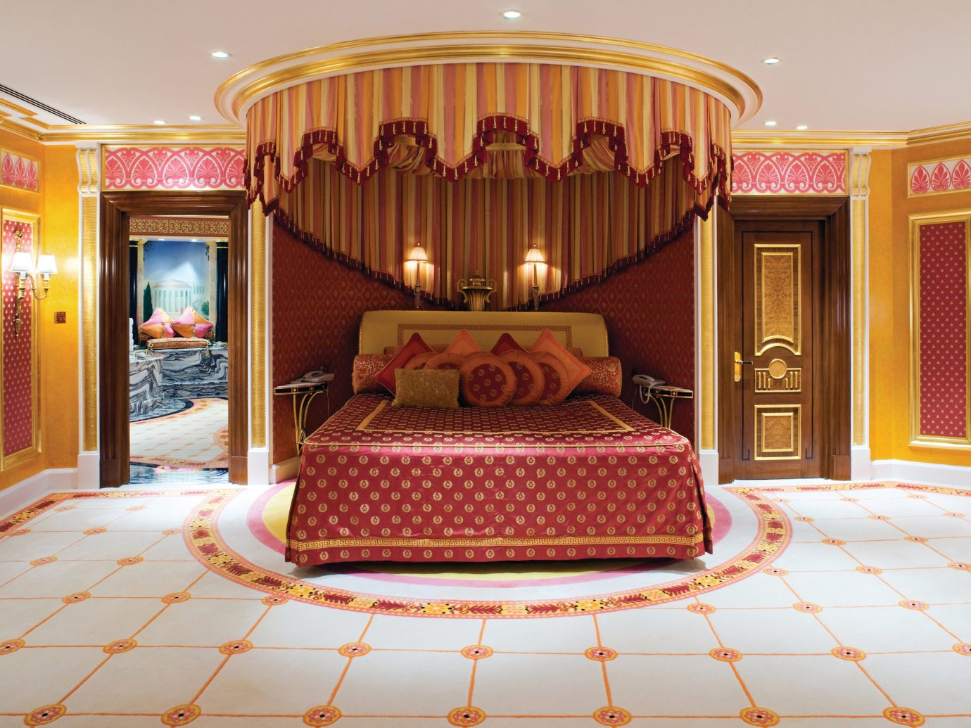 Dubai Hotels Luxury Travel Middle East indoor room interior design bed ceiling wall furniture Suite Bedroom function hall flooring decorated