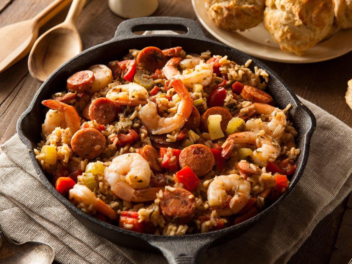 Food + Drink food dish cuisine produce meat vegetable jambalaya meal european food several