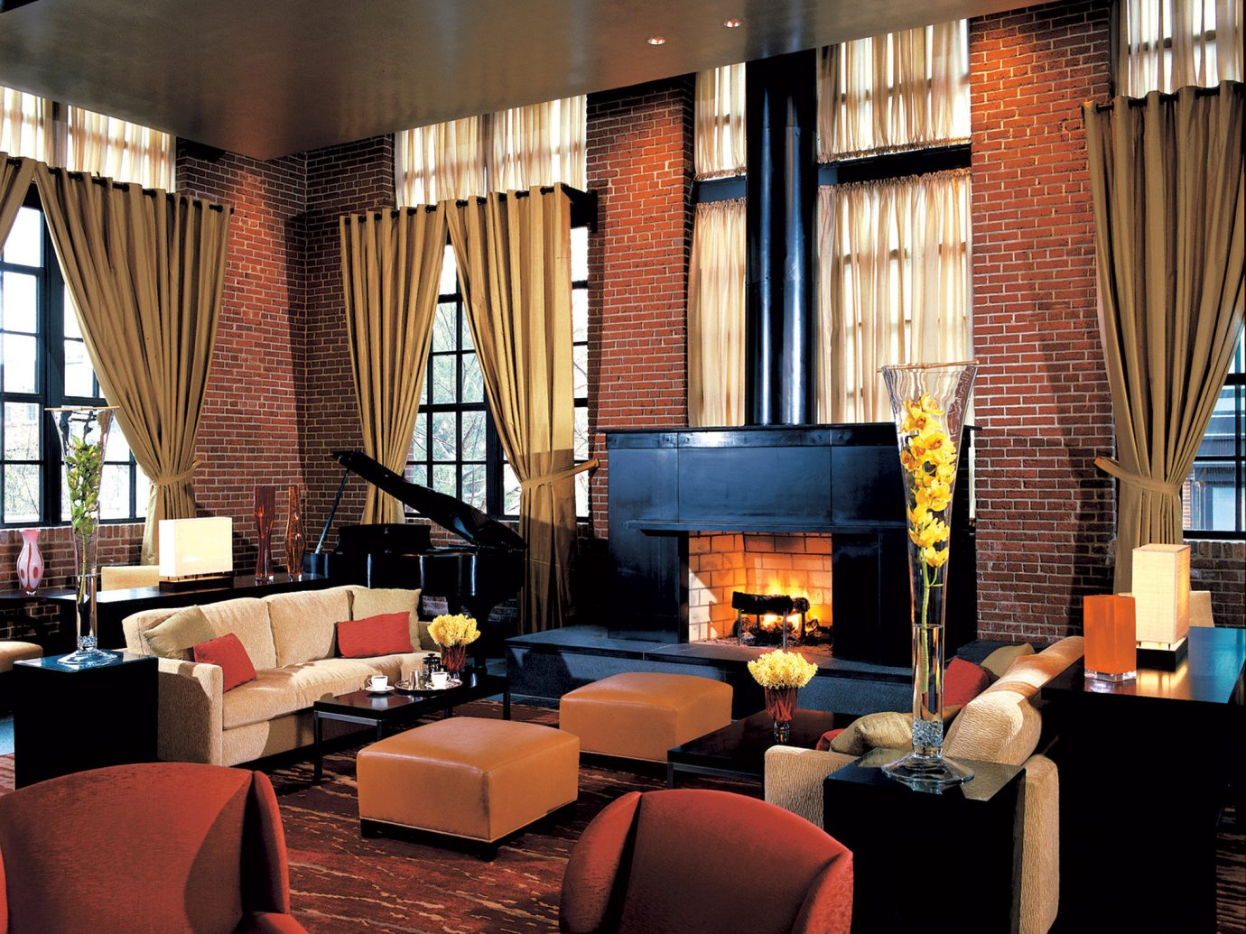 Boutique Hotels Fireplace Hotels Living Lounge Luxury Modern indoor room window ceiling living room Lobby interior design restaurant furniture estate home Bar Design Suite window covering area decorated several