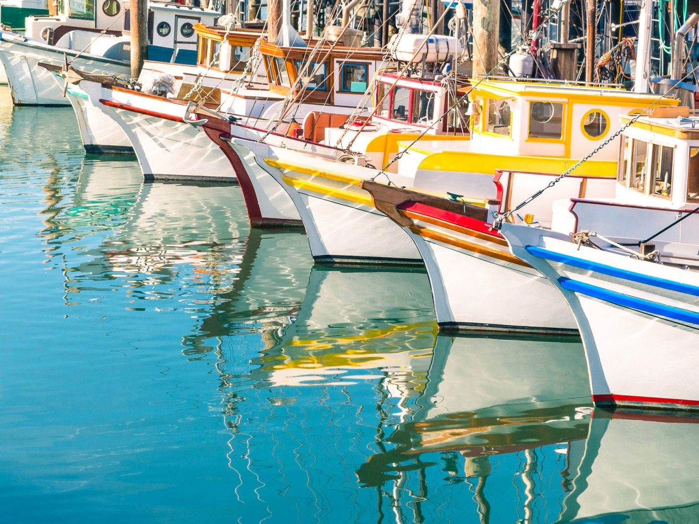 Trip Ideas water Boat outdoor vehicle scene Harbor watercraft rowing boating dock yellow watercraft waterway Sea marina gondola reflection