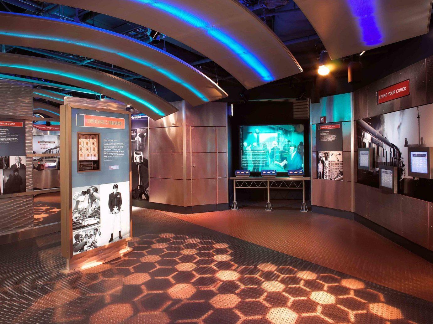 activities ambient lighting attraction dark dim exhibit interior lights Museums neon Offbeat floor indoor room Lobby interior design nightclub Design area