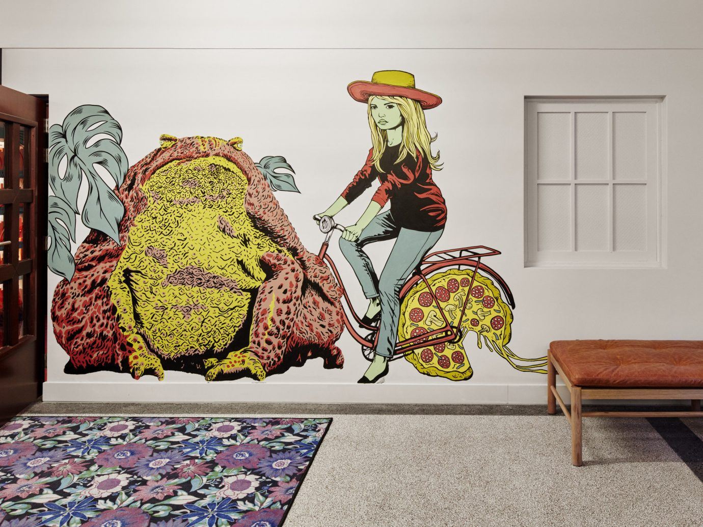 Hotels indoor floor Living art painting modern art mural furniture Design illustration textile