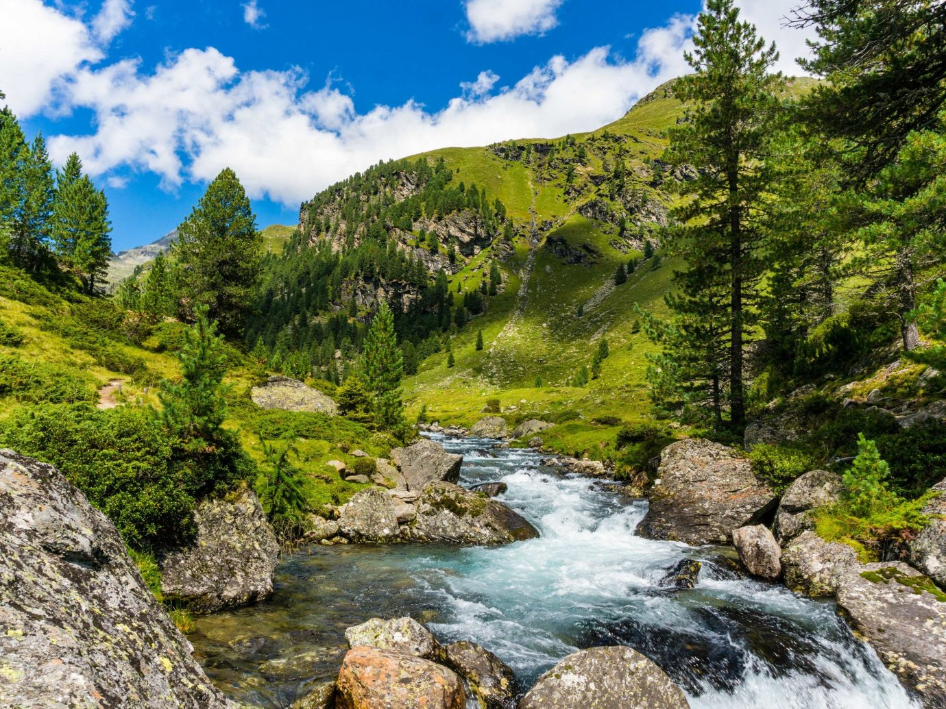 Lakes + Rivers Outdoors + Adventure outdoor tree rock water Nature stream mountainous landforms mountain wilderness rocky nature reserve vegetation River watercourse sky leaf mount scenery water resources landscape national park creek mountain range valley plant biome arroyo fluvial landforms of streams Lake rapid water feature hillside riparian zone bank grass ravine alps hill Forest stream bed old growth forest