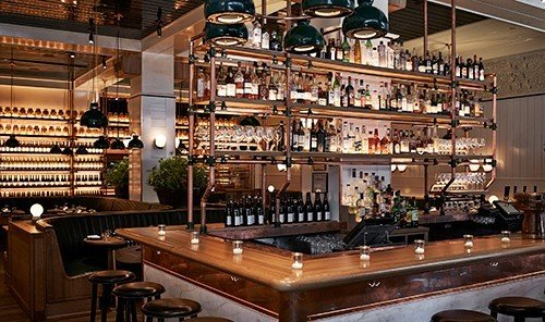 Food + Drink indoor table room Bar interior design restaurant several