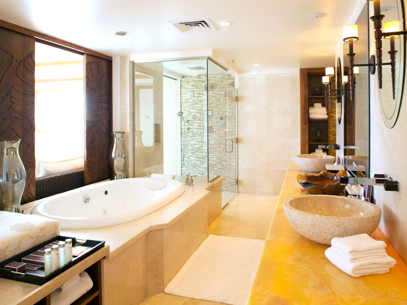 Bath Beach Beachfront Boutique Hotels Family Hawaii Honolulu Hotels Island Resort Romantic indoor wall bathroom floor room property sink estate Suite home real estate interior design counter cottage apartment swimming pool bathtub tub