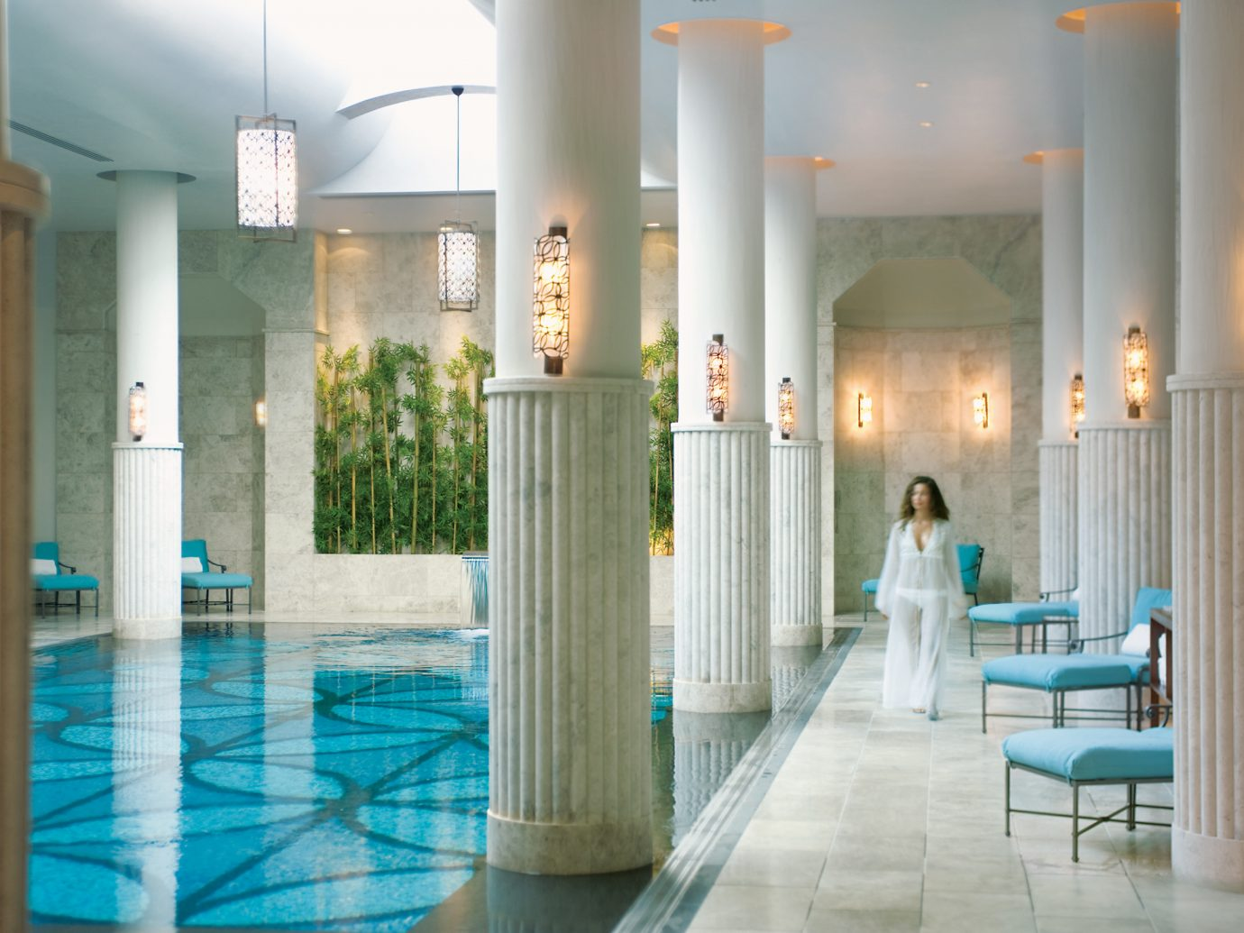 Elegant Hip Living Lounge Luxury Modern Pool Trip Ideas floor indoor swimming pool Lobby estate interior design mansion area furniture