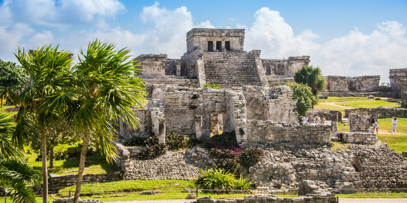 Influencers + Tastemakers Mexico Style + Design Travel Shop Travel Tips Trip Ideas Weekend Getaways grass sky outdoor Ruins archaeological site building estate vacation tourism ancient history maya civilization rural area castle Village palace Garden château stone travel mansion pasture