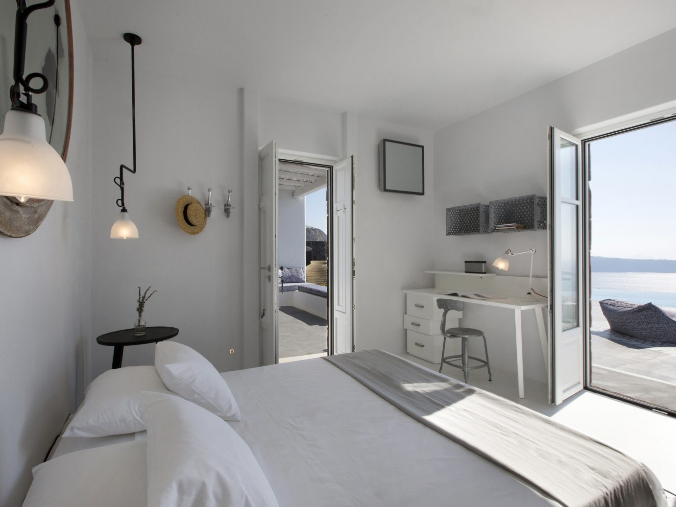 Greece Hotels Santorini wall indoor room mirror bed ceiling scene interior design Bedroom Suite real estate interior designer hotel decorated furniture