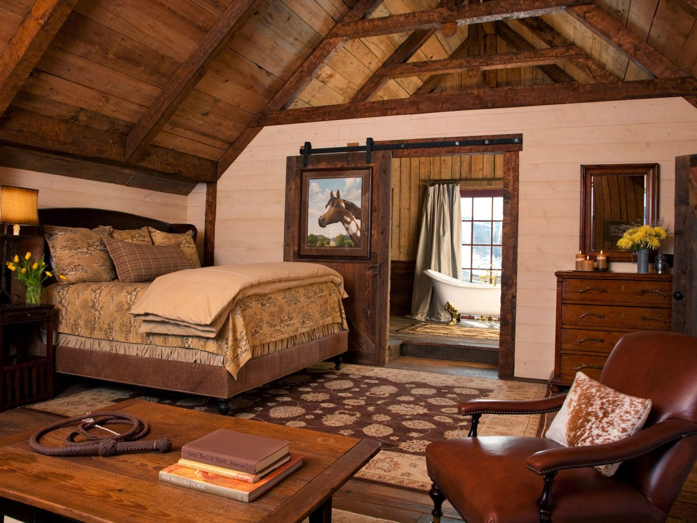 Bath bed Bedroom charming cozy extravagant homey Luxury Rustic Trip Ideas view warm indoor Living room table floor ceiling property chair living room estate log cabin home house cottage furniture farmhouse hardwood interior design wood real estate Villa area dining table