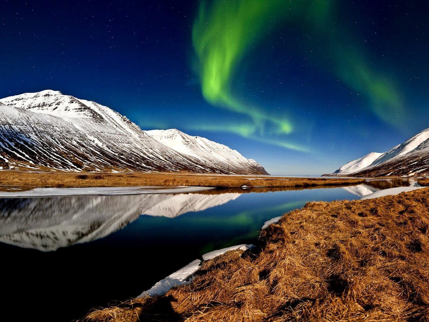 Hotels Iceland Travel Tips Trip Ideas outdoor Nature mountain geological phenomenon aurora landscape mountain range