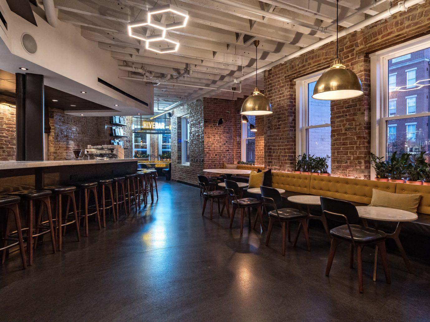 Boutique Hotels Hotels floor indoor table ceiling room restaurant interior design café Bar furniture wood several dining room