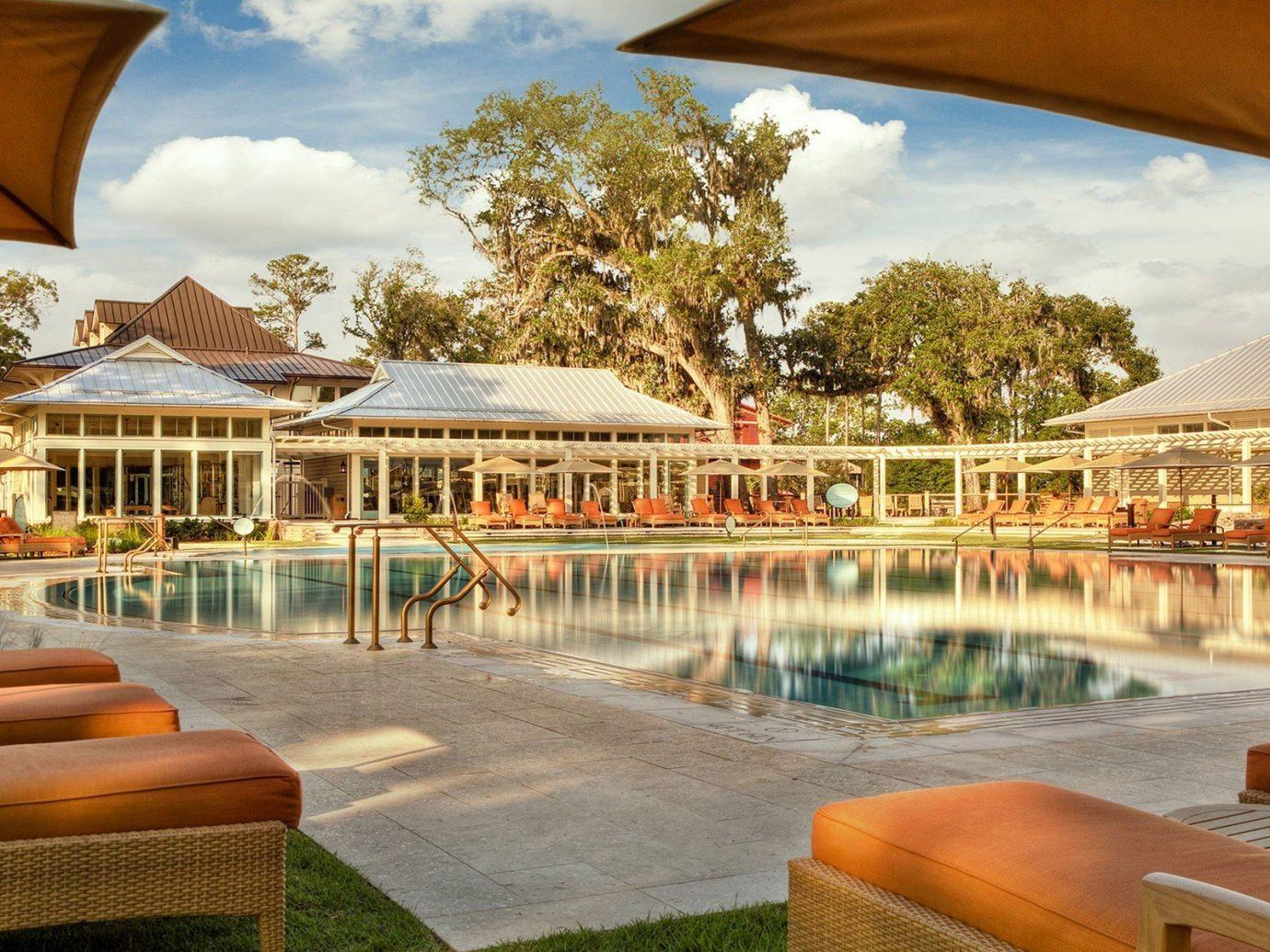 Hotels outdoor chair leisure Resort vacation swimming pool estate orange palace Villa hacienda furniture
