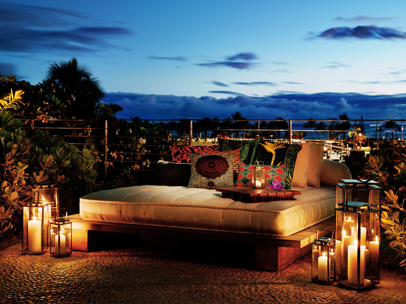 Boutique Hotels Cultural Deck Hawaii Honolulu Hotels Island Lounge Modern Nightlife Pool Romantic Scenic views sky outdoor night evening estate lighting home Resort Sunset dusk landscape lighting