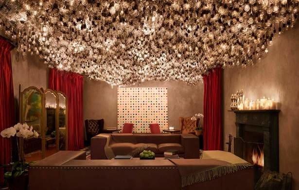 Hotels NYC indoor room bed interior design living room lighting decorated furniture Bedroom