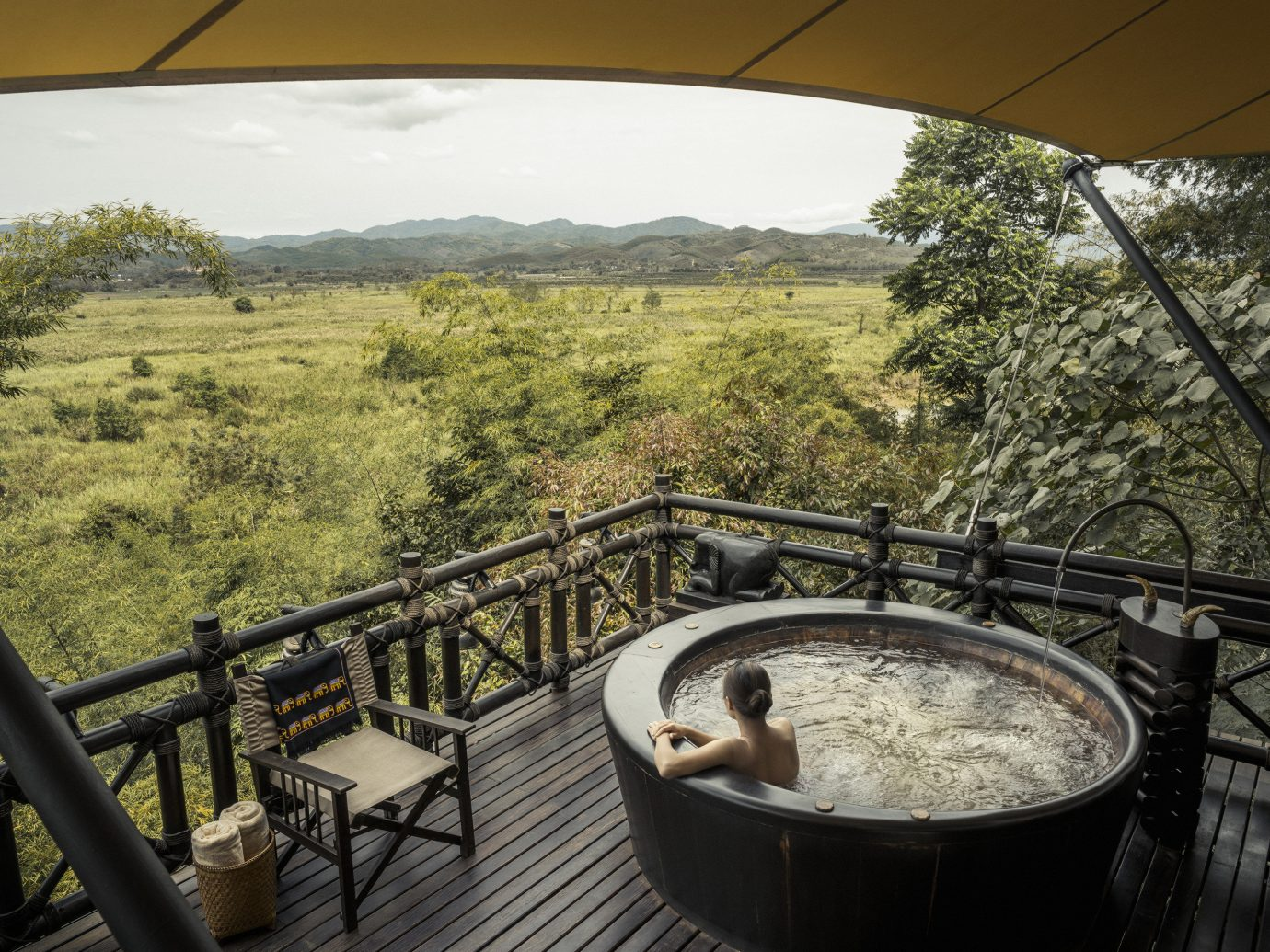 Private hot tub at Four Seasons Tented Camp Golden Triangle, Thailand