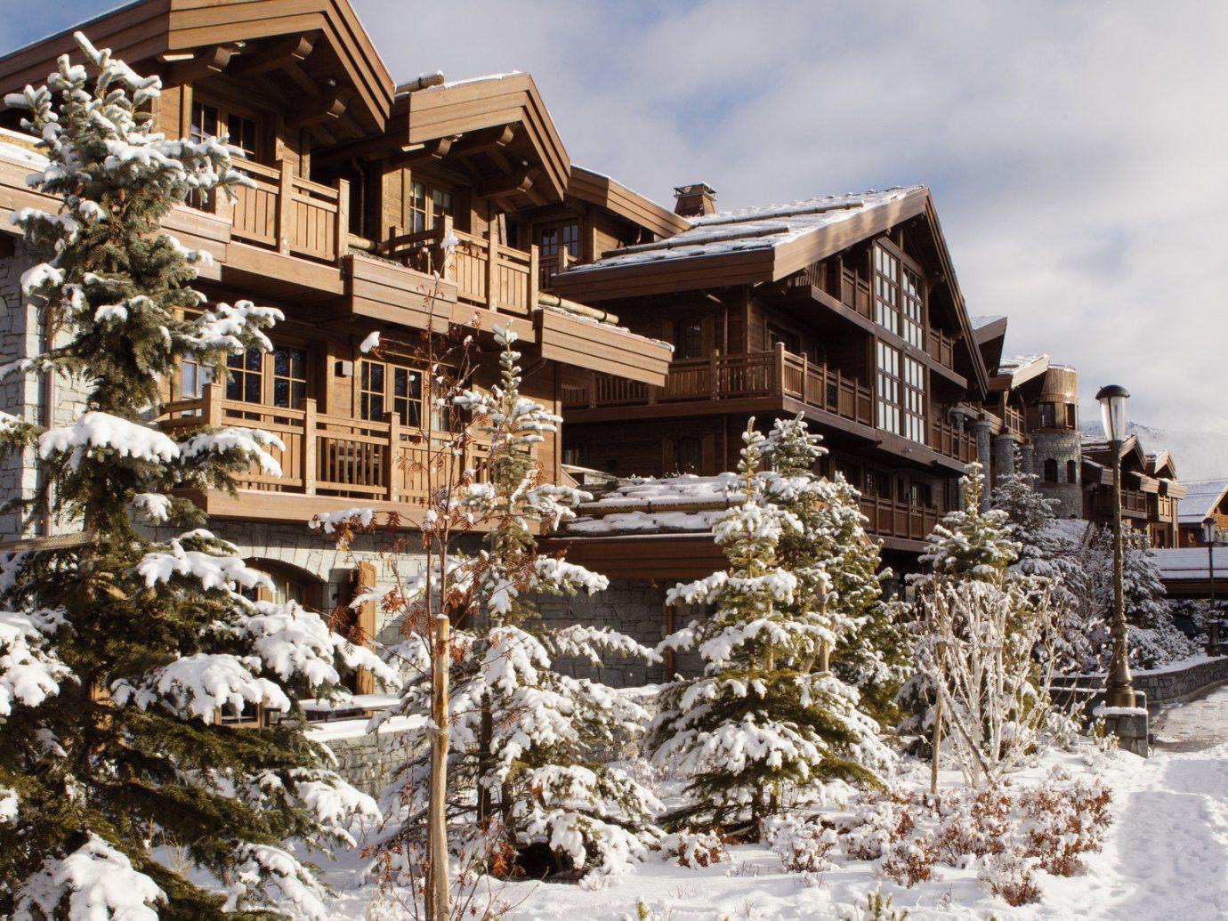 building Cabin Exterior Greenery Lodge remote Rustic ski lodge snow trees Trip Ideas Winter outdoor sky tree house geological phenomenon season Resort home