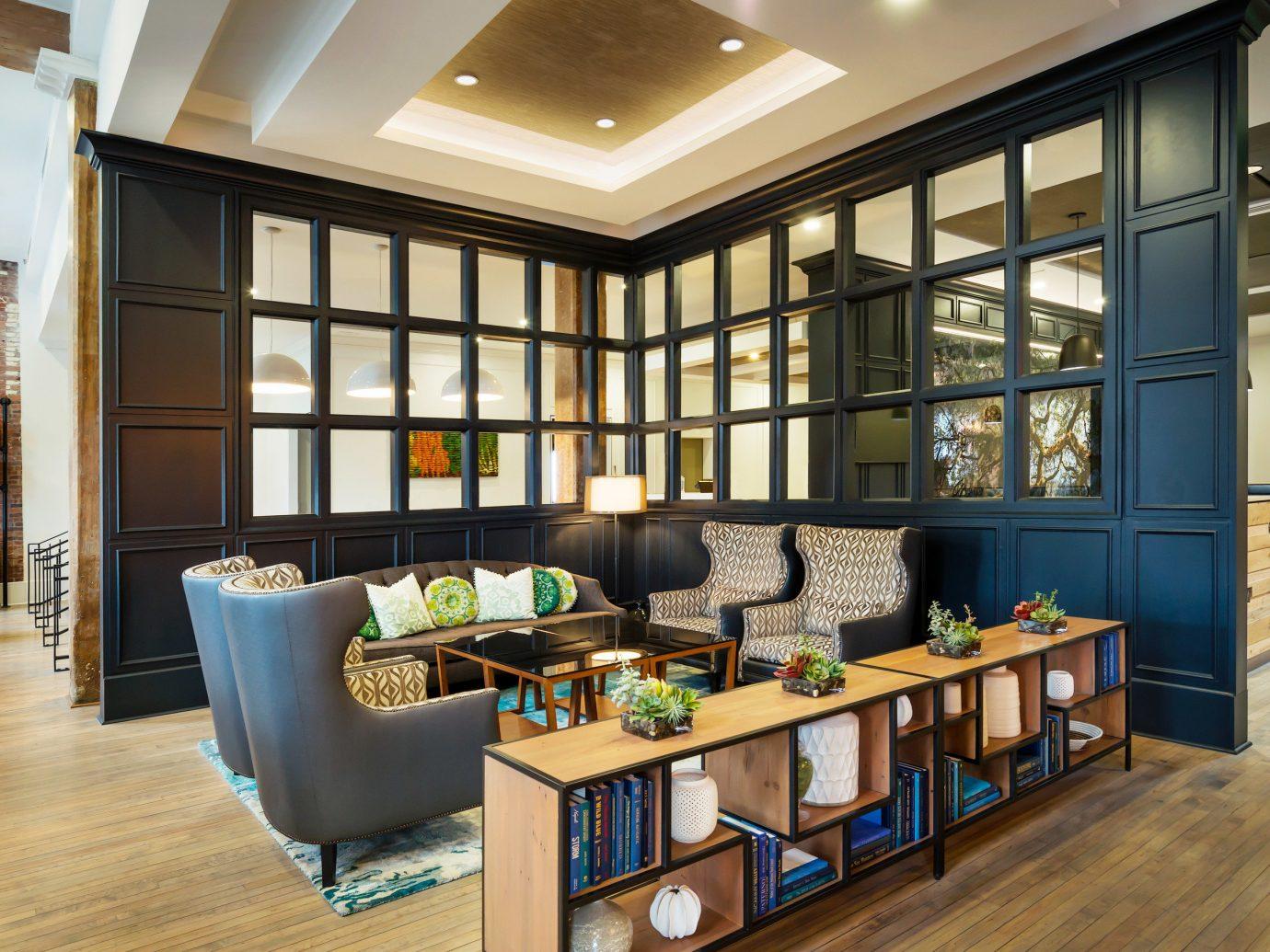 Boutique Hotels Food + Drink Girls Getaways Weekend Getaways floor indoor Living room window interior design furniture Lobby living room ceiling wood loft area hard