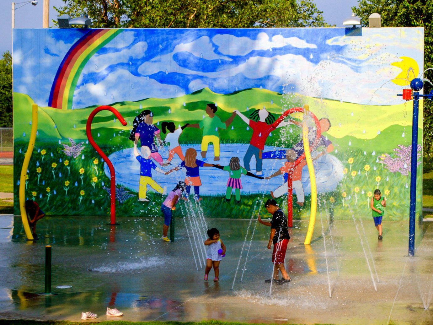 Offbeat water Nature art mural leisure amusement park painting tree colorful tourist attraction recreation fun artwork water feature graffiti colored visual arts tourism park plant Playground world