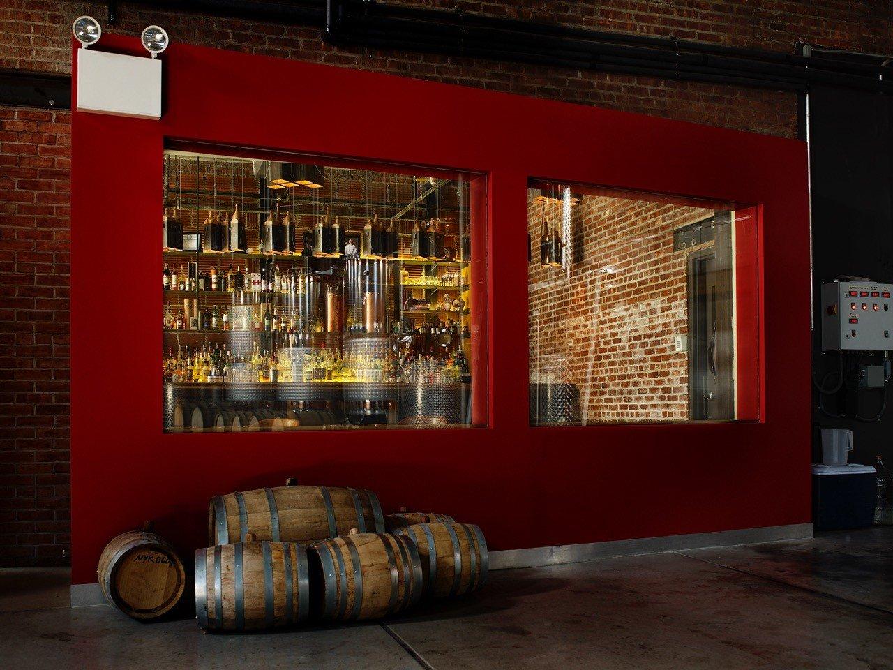Brooklyn Food + Drink red interior design window display window facade basement