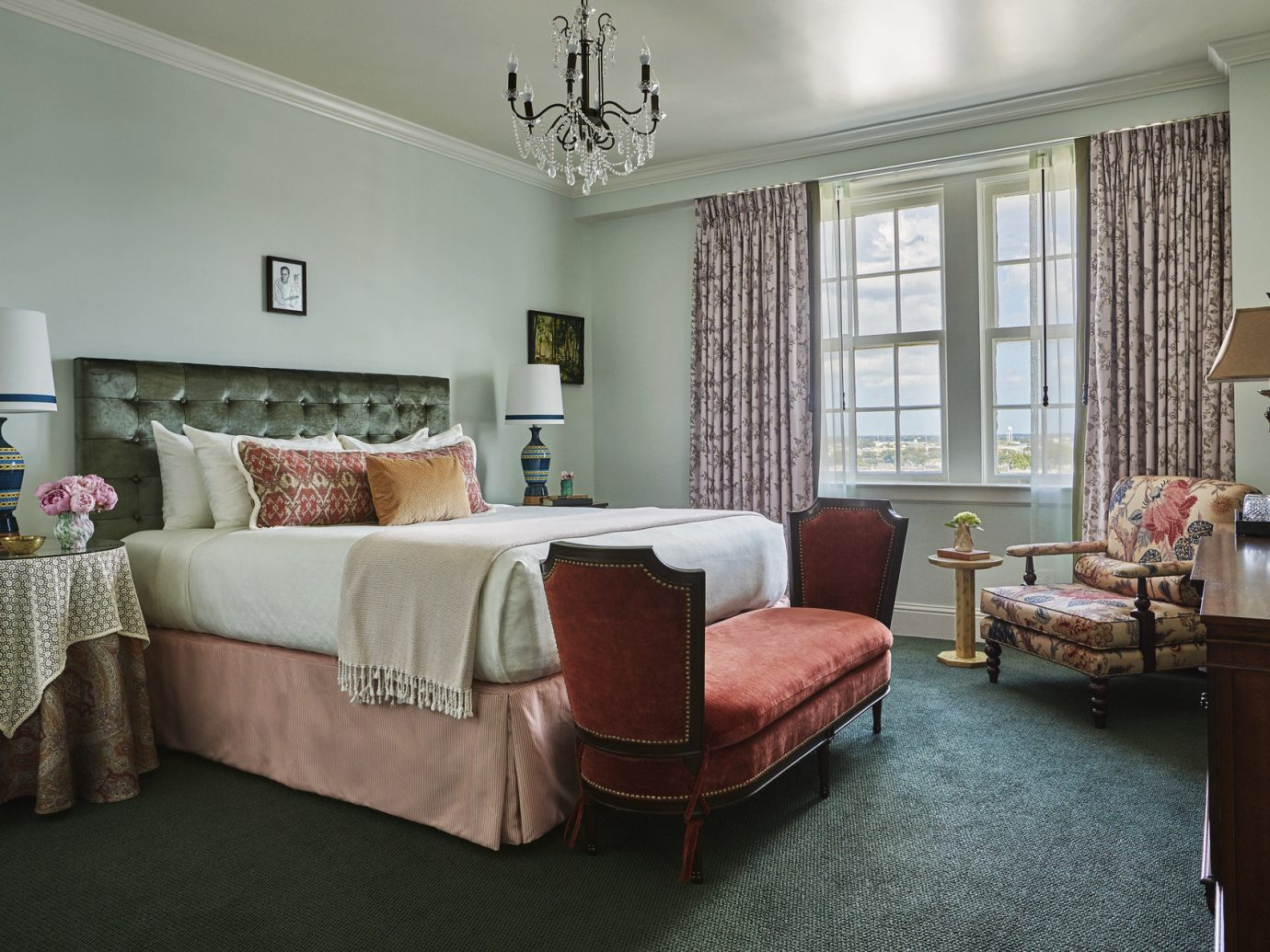 bed Bedroom Boutique Hotels city views Elegant extravagant fancy Hotels Luxury natural light regal sophisticated Trip Ideas view window indoor floor room wall living room property home house ceiling interior design estate real estate cottage hotel apartment furniture condominium area decorated