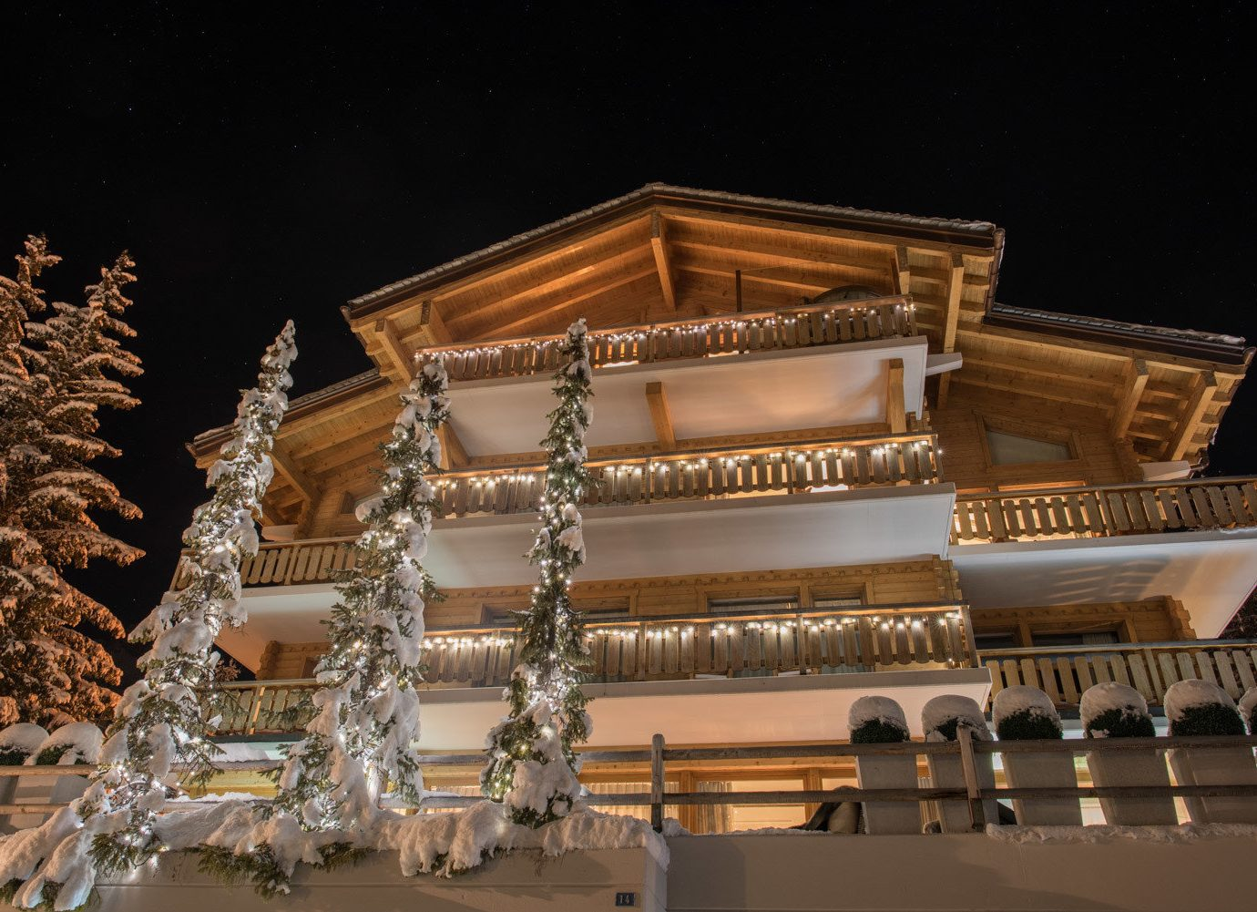 Hotels Luxury Travel Mountains + Skiing night lighting several