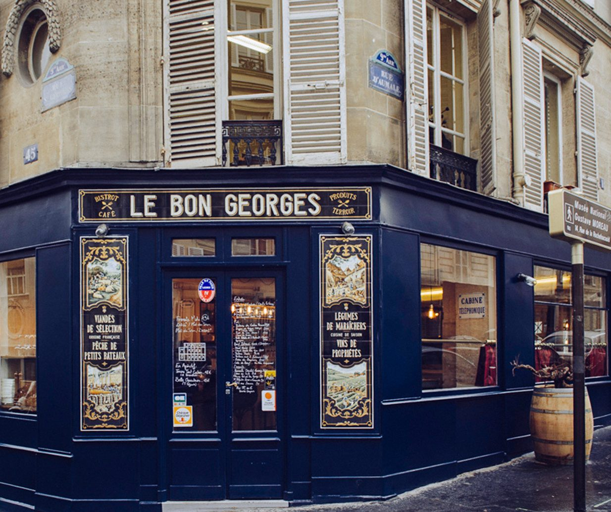 Food + Drink France Paris building outdoor street City window facade retail Business several