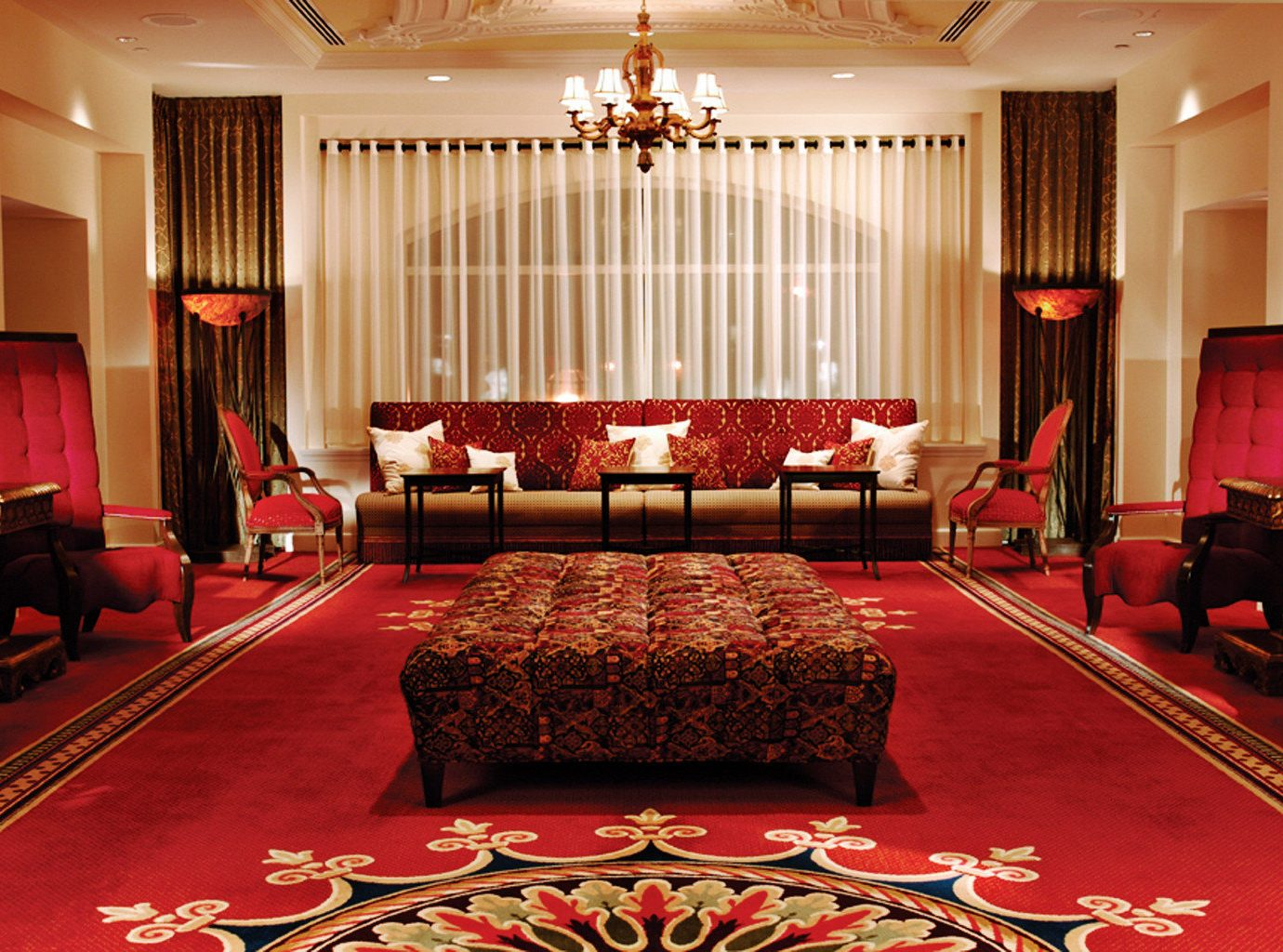 Elegant Historic Hotels Living Lounge Luxury indoor room wall red floor window ceiling function hall Suite decorated rug interior design quinceañera ballroom furniture billiard room hotel several