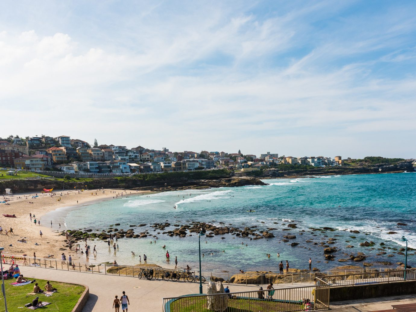 Outdoors + Adventure Sydney sky outdoor Sea water Coast Beach body of water coastal and oceanic landforms shore Ocean bay tourism sand City cloud horizon people cape tree inlet vacation cove day