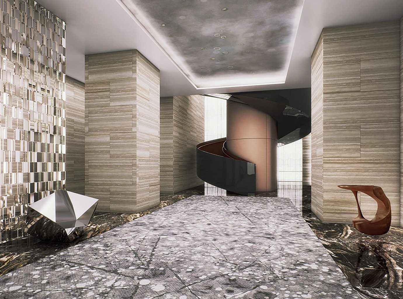 Hotels NYC indoor house room wall floor Architecture home interior design estate wood living room flooring Lobby Design hall mansion window covering furniture
