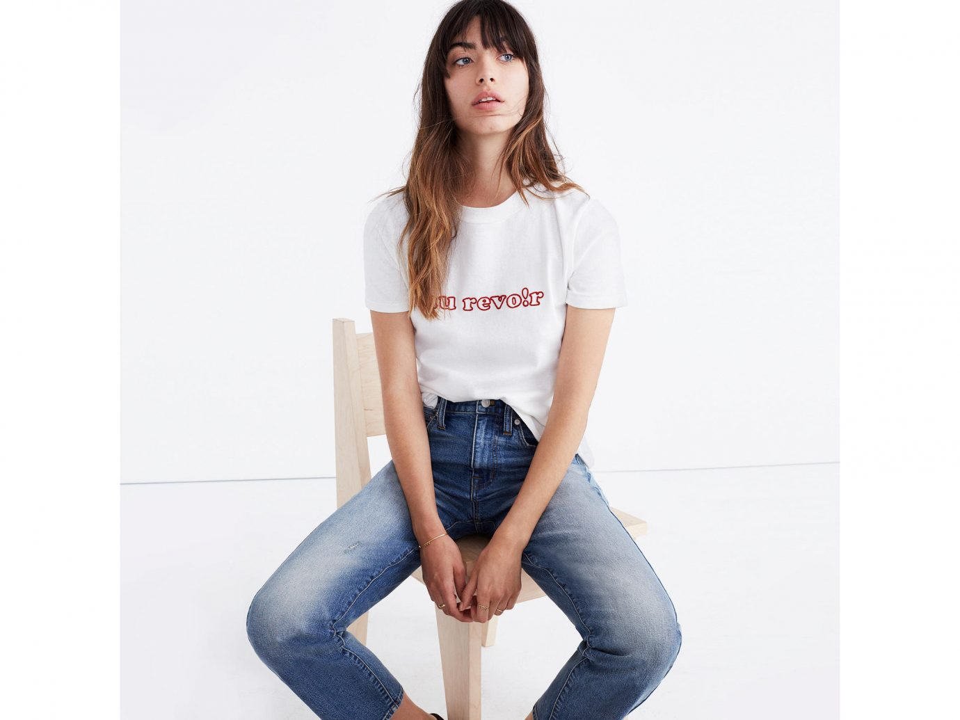 Style + Design person clothing jeans shoulder young denim fashion model joint waist neck t shirt trousers sleeve abdomen posing product trouser