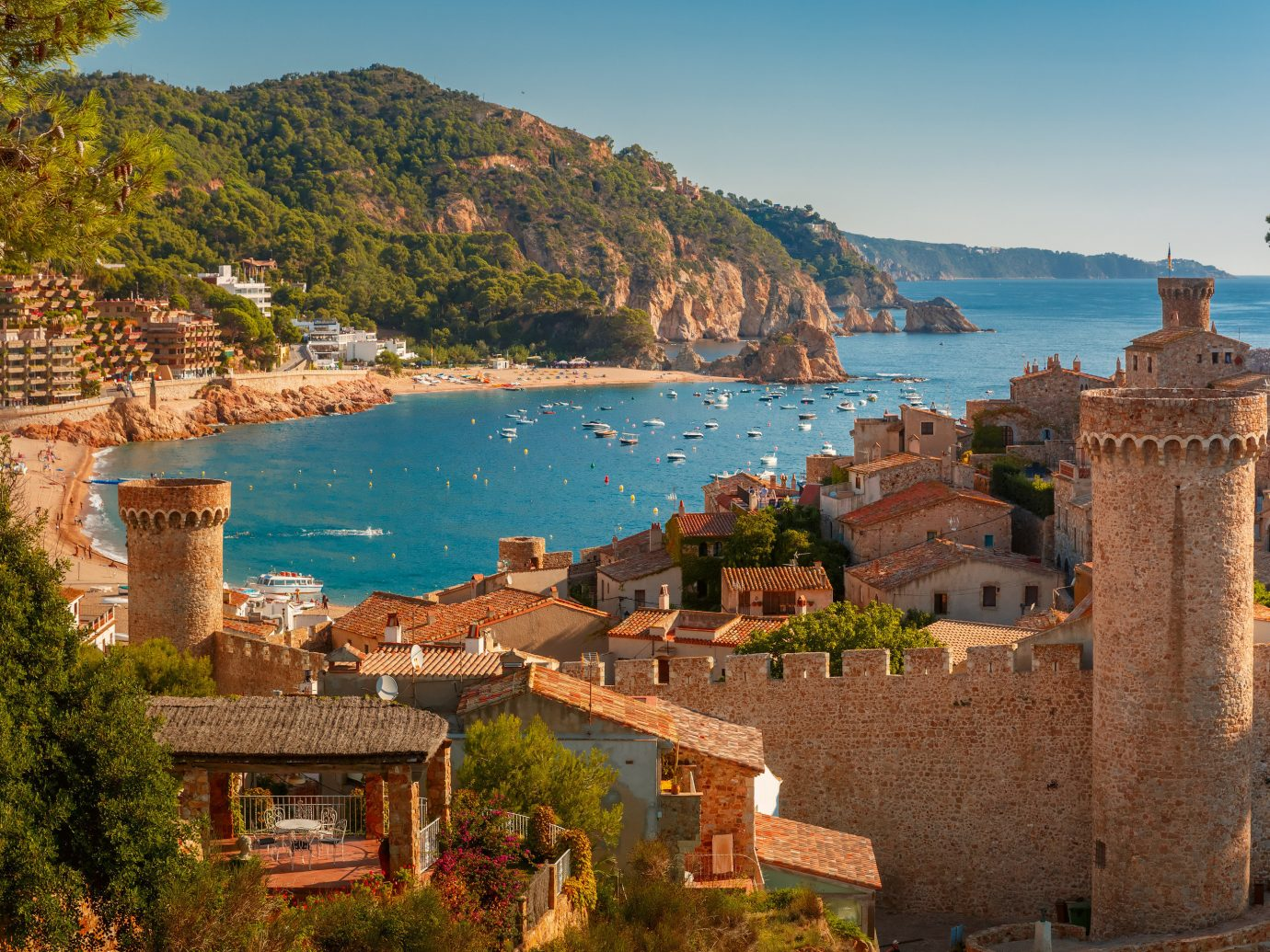 Beach tree outdoor mountain Town building vacation Coast Sea tourism River fortification landscape estate Village bay overlooking cliff Lake terrain castle hillside