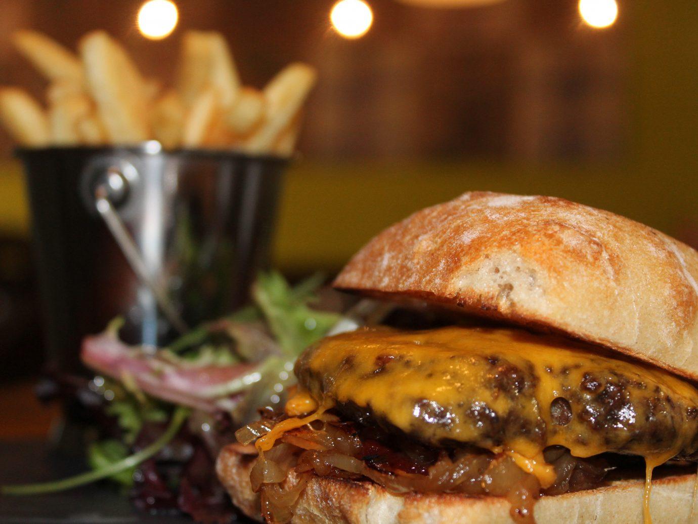 Food + Drink food indoor dish hamburger sandwich meal meat restaurant breakfast produce brunch cuisine snack food close