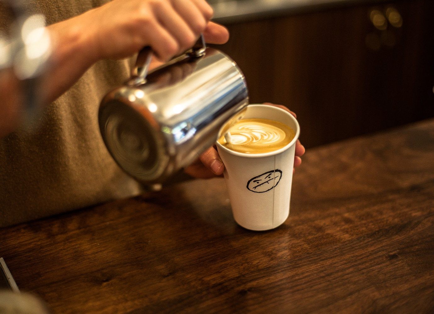 Offbeat cup table indoor person Drink coffee lighting espresso sense beer distilled beverage flavor drinking