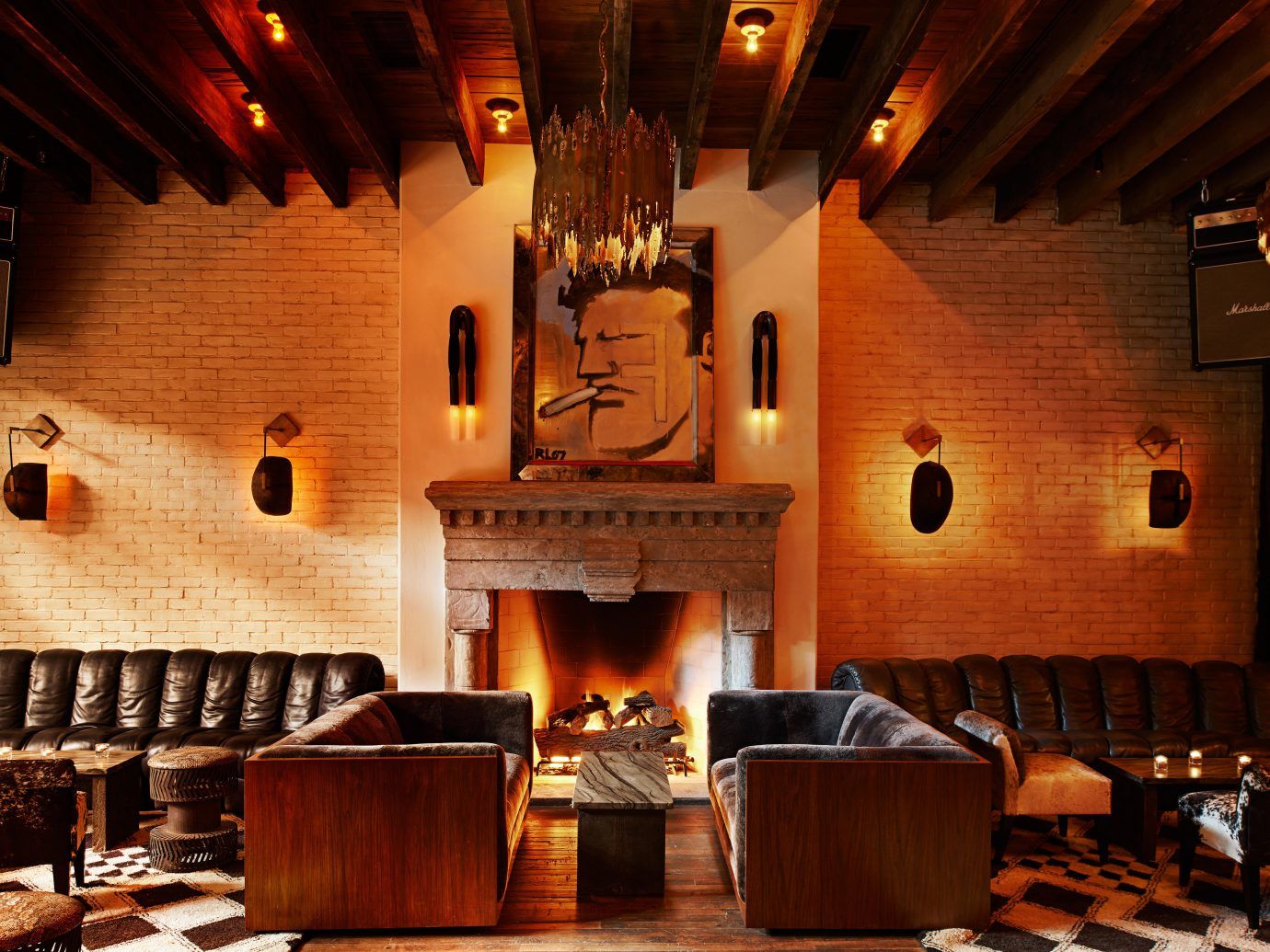 Boutique City Fireplace Hotels Lobby Lounge Modern Style + Design indoor wall man made object room ceiling Living restaurant furniture area