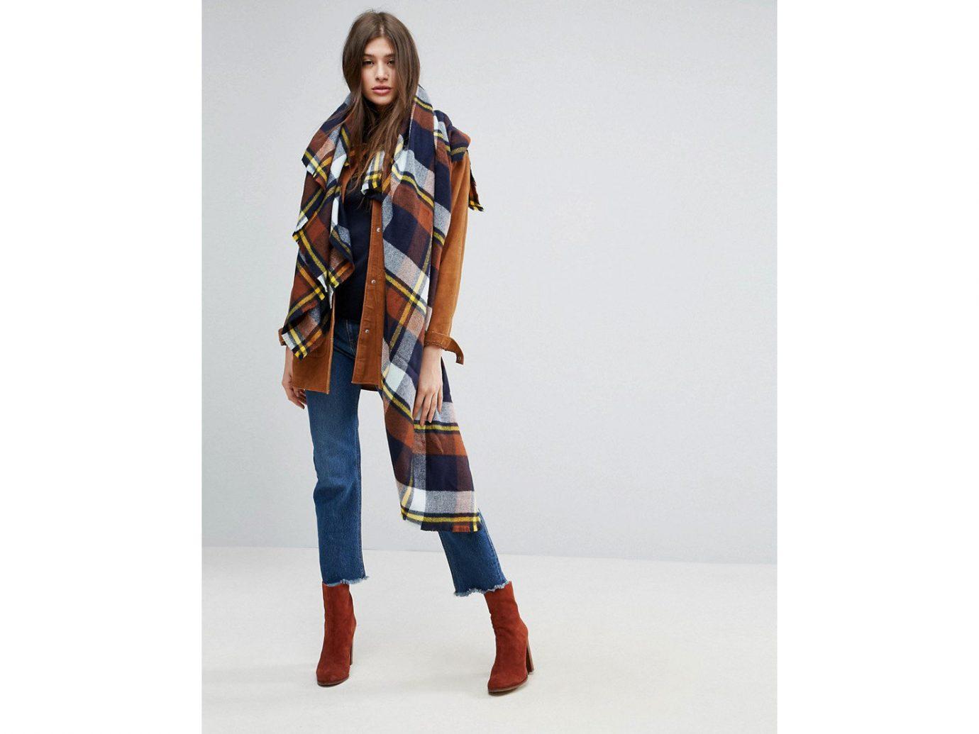 Travel Shop person fashion model shoulder outerwear fashion pattern tartan joint costume