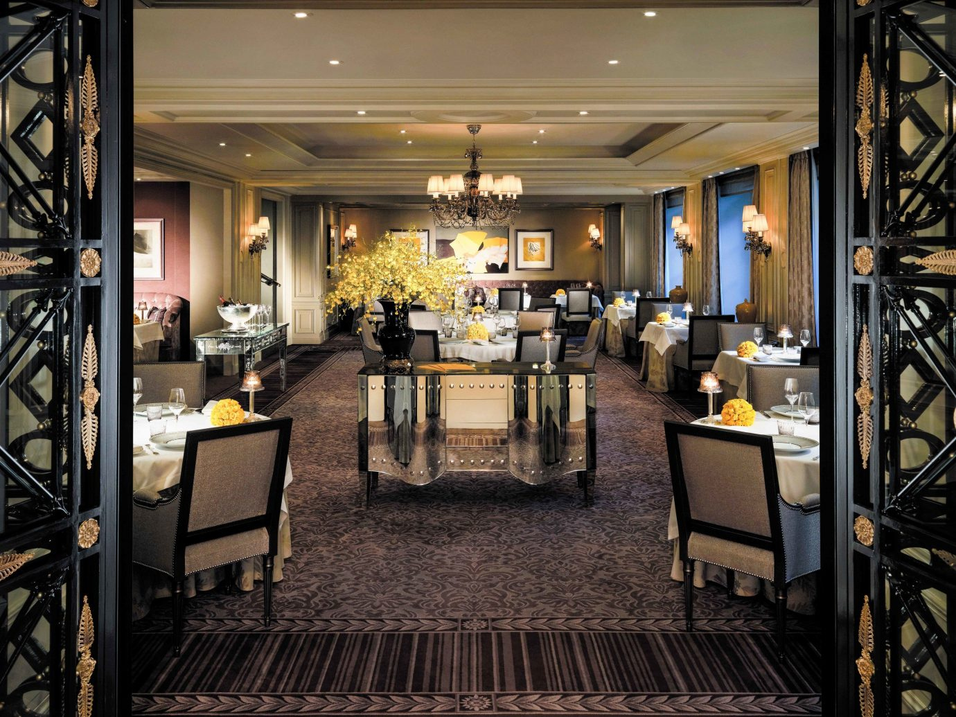 Food + Drink Romance indoor ceiling restaurant interior design dining room function hall Lobby flooring furniture