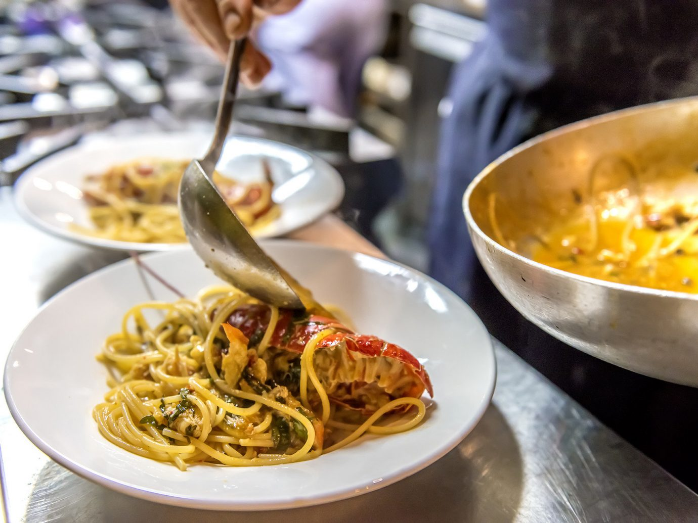 chef Eat food Food + Drink homey Kitchen pasta pouring Rustic Trip Ideas table plate dish cuisine spaghetti meal supper italian food restaurant produce european food vegetable