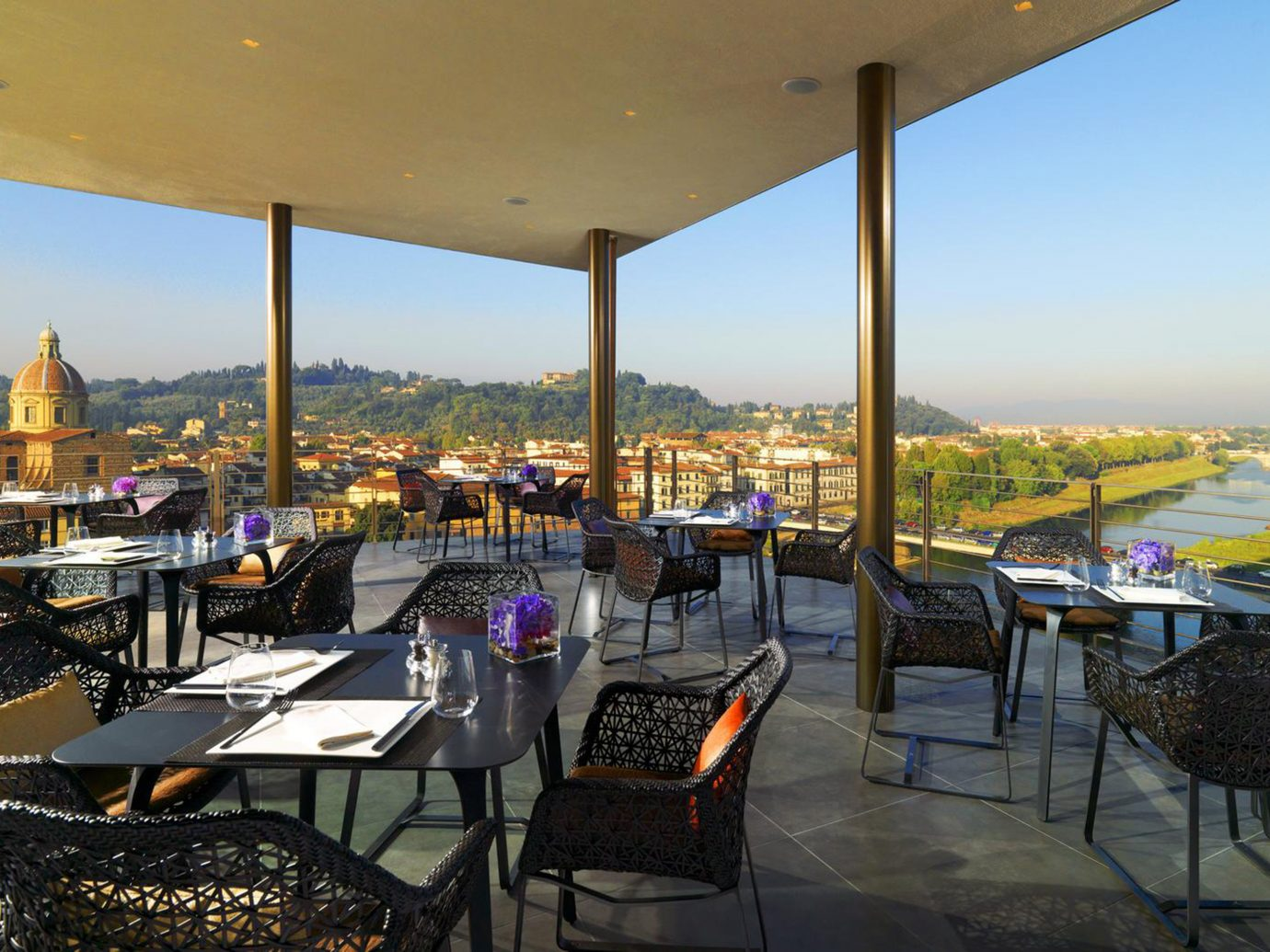 Deck Dining Florence Hotels Italy sky chair outdoor restaurant vacation estate Resort overlooking set several day
