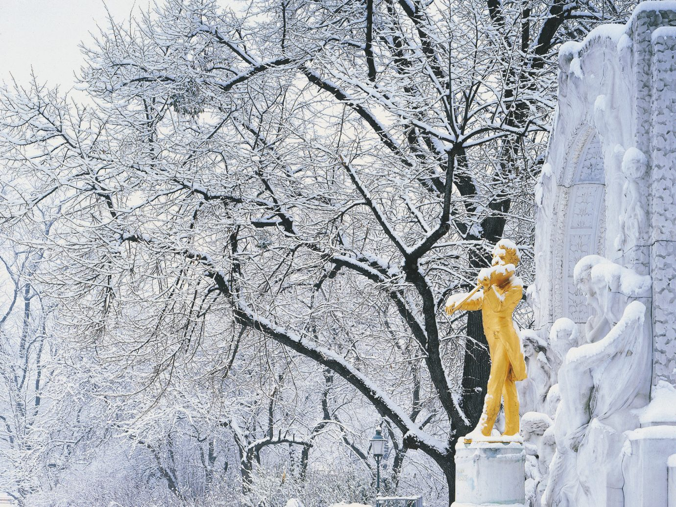 europe Outdoors park quaint snow statue trees Trip Ideas Winter tree outdoor weather freezing season ice branch frost winter storm spring blizzard flower
