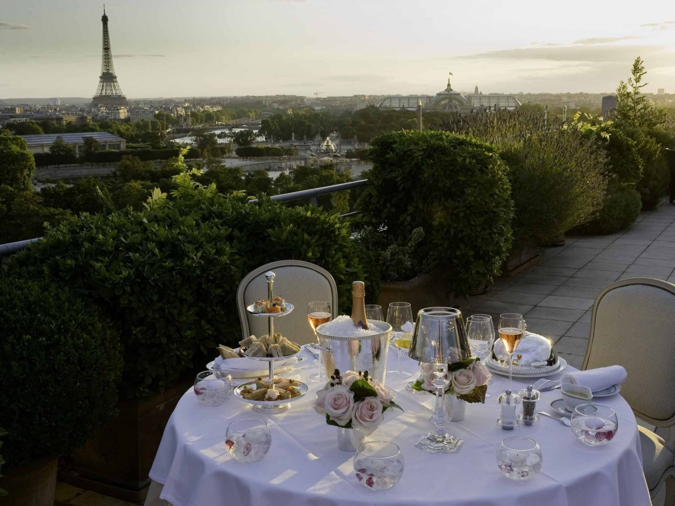 France Hotels Luxury Travel Paris tree outdoor meal flower dining table