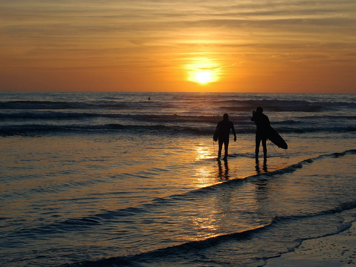 Surfers At Pacific Ocean In San Diego At Sunset