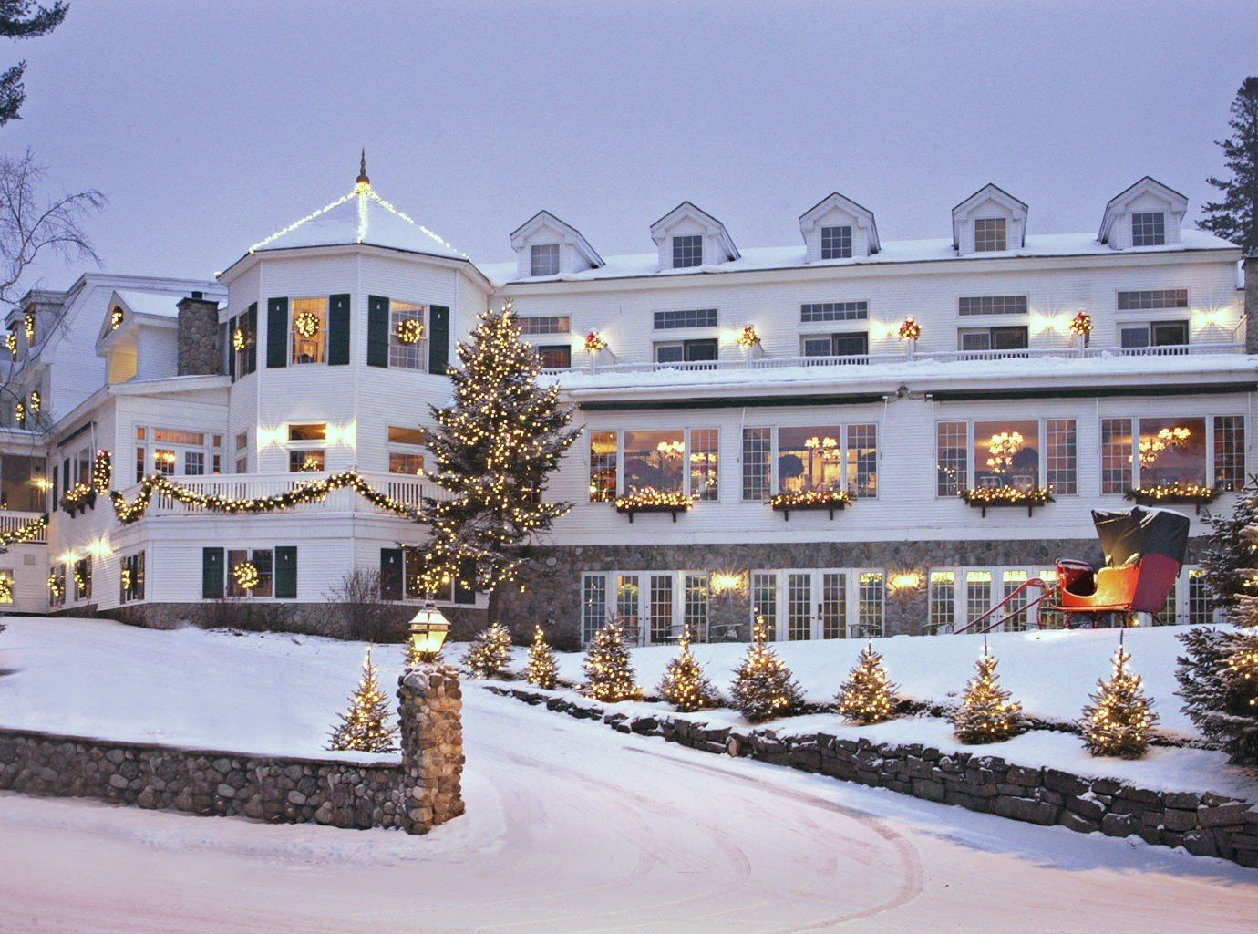 Trip Ideas sky outdoor snow Winter house estate home palace Resort Christmas ice rink