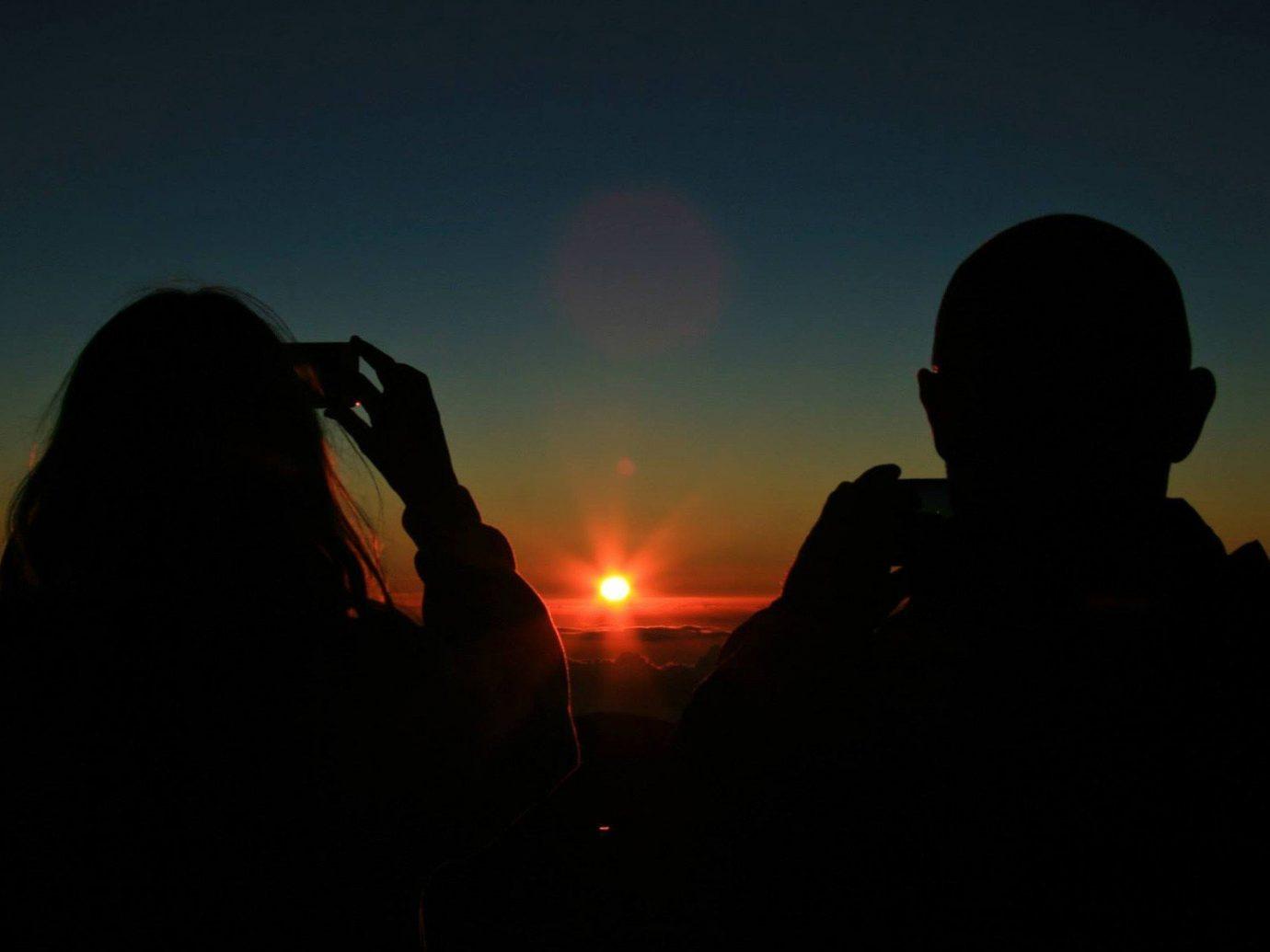 Offbeat person dark laptop atmospheric phenomenon looking Sunset atmosphere darkness light night silhouette atmosphere of earth sunrise morning evening dawn dusk watching sunlight Sun staring
