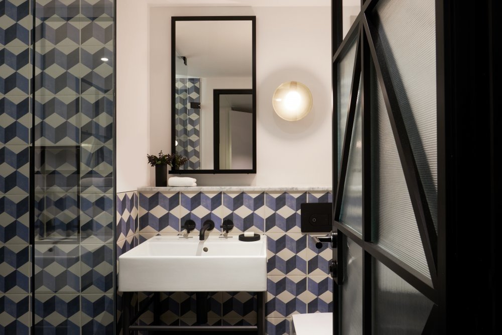 Amsterdam Hotels The Netherlands indoor bathroom wall room interior design flooring white sink window floor tile tiled
