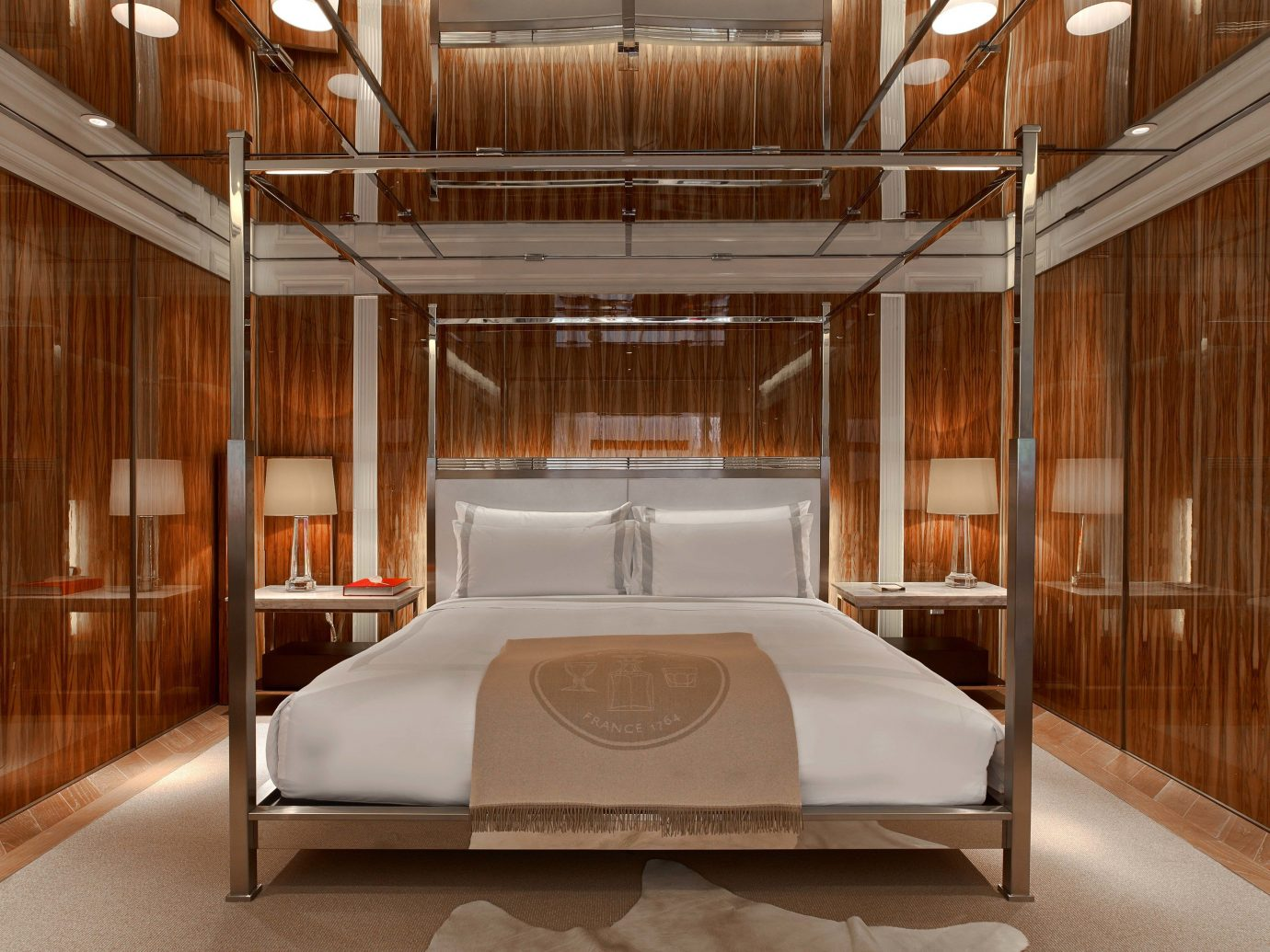 Hotels Luxury Travel indoor floor ceiling room interior design Architecture bed frame wood furniture bed interior designer flooring Bedroom