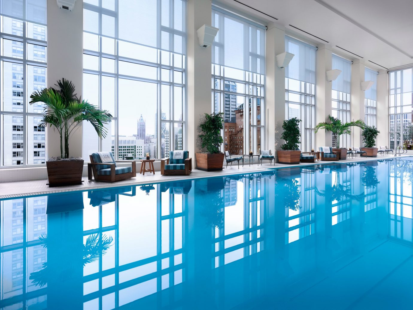 City Hotels Pool Scenic views indoor window condominium swimming pool property leisure building leisure centre estate reflecting pool Resort interior design home real estate facade apartment headquarters blue painted several